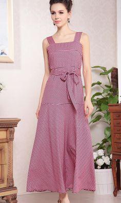 #SheInside Pink Straps Sleeveless Grid Belt Maxi Dress - Sheinside.com