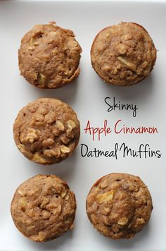 Skinny Apple Cinnamon Muffins These skinny apple cinnamon oatmeal muffins are the perfect fall snack. Packed with apple chunks and oats, they're a great make-ahead breakfast! Apple Oatmeal Muffins, Applesauce Muffins, Apple Cinnamon Oatmeal, Cinnamon Apples, Oatmeal Muffin Recipe, Sugar Free Apple Muffins, Healthy Oatmeal Muffins, Healthy Apple Cinnamon Muffins, Oatmeal Breakfast Muffins