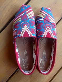 Hand painted tribal canvas Toms by ChristinaEvertArt on Etsy