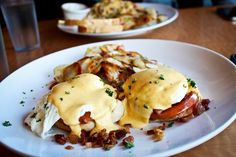 Eggs Blackstone – English Muffins, Grilled Tomatoes stuffed with Fresh Bacon Bits, Poached Eggs, Hollandaise Sauce & Served with Breakfast Potatoes