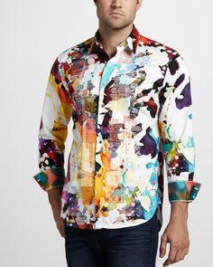 My favorite shirt ever Gerard Paint-Print Sport Shirt by Robert Graham at Neiman Marcus. Mens Hottest Fashion, Mens Fashion, Casual Button Down Shirts, Casual Shirts, Black Men Beards, Robert Graham, Dapper Men, Sports Shirts, Stylish Men
