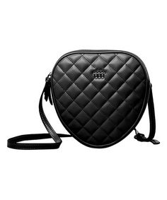 Black Quilted Heart Leather Crossbody Bag #zulily #zulilyfinds