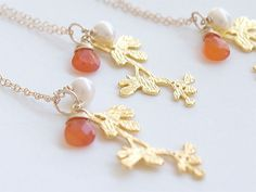 Tangerine Bridesmaid Necklaces in Gold  Branch by FiveThirty, $70.00
