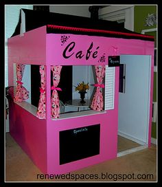 Cafe made from plywood, paint, and lots of creativity! My girls were the lucky recipients!!!