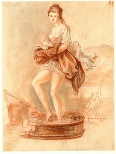 """after Detail of """"Scottish Washerwoman"""" by Paul Sandby. A Scottish Washerwoman, one of the sketches made in Edinburgh and the neighbourhood after the rebellion of a girl in a laundry treading linen in a shallow washtub, with skirts tucked high. Rococo, Baroque, Era Georgiana, Georgian Era, Georgian House, Crayon Drawings, Dragonfly In Amber, Irish Celtic, Women In History"""