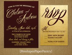 Wedding Invitations, Burgundy and Gold, Elegant Script, Burgundy Text, Gold Metallic Paper, Modern, Opt RSVP, Customizable,With Envelopes.
