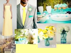 Canary yellow and Tiffany Blue with grey and white for the colors of the big day!