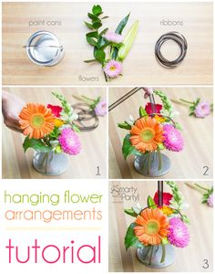 Hanging Flower Arrangements tutorial | Smarty Had A Party