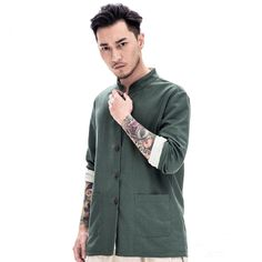 Traditional Chinese Clothing Men Shirts Both Sides Wear Cotton Linen Long Sleeve Tshirt Chinese Style Tops Original Dresses