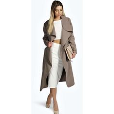 Boohoo Kate Belted Shawl Collar Coat (€31) ❤ liked on Polyvore featuring outerwear, coats, mocha, belted wrap coat, waterfall trench coat, wrap coat, shawl wrap coat and shawl collar coats
