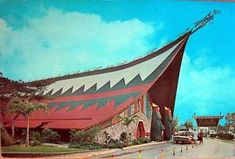 The Kahiki Supper Club in Columbus, Ohio. It was built in 1959 and closed in 2000. I remember my mom driving past it. It was SO interesting and different. It was placed on the National Register of Historic Places in 1997. Despite this, Walgreen's purchased the building and bulldozed it.
