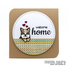 1001 cartes: Sunny Studio – Welcome Home Card by Francine Vuilleme (using Santa's Helpers & Happy Home stamp sets),