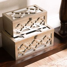 Showcasing a quatrefoil overlay and mirrored accents, these classic wood boxes bring lovely appeal to your entryway console table or master suite vanity.