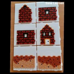 3D hus Hama Beads 3d, 3d Perler Bead, Pearler Beads, Fuse Beads, Christmas Angels, Christmas Fun, Bead Crafts, Diy Crafts, Pearler Bead Patterns