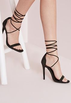 Lace Up Barely There Heeled Sandals Khaki