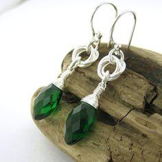 Emerald Earrings Eternal Love Knot Earrings от JenniferCasady