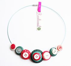 Vintage Button Necklace Jewellery Buttons 50's  £14.00