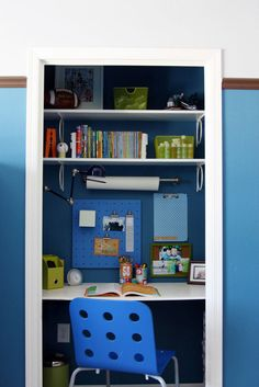 Pinning this because this blogger's home at iHeartOrganizing has tons of amazing decorating ideas... this is a closet turned homework area in her son's bedroom - GENIUS!