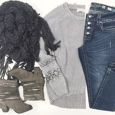 {COZY KNITS} that you're going to want to see under the tree this year ❄️ Grey Lace Detail Knit Sweater $42 • Chunky Knit Fringe Infinity Scarf $25 • Poncho Bootie $138 • Button Fly Miss Me Skinny Jeans $99.50  Out of state?! WE SHIP! Call  to order today 360.716.2982 #htholida #shophoitytoity