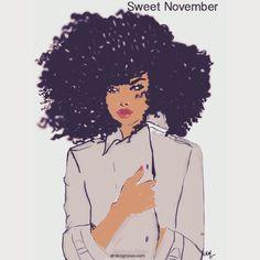 Sweet November #nikisgroove #illustration #afroart #blackart #nikisgroovecalender2015 #cheveuxcrepus #nappy #draw (à nikisgroove.etsy.com)