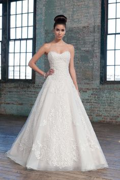 Justin Alexander Signature - Style 9805: Beaded Metallic and Chantilly Lace over Organza Ball Gown