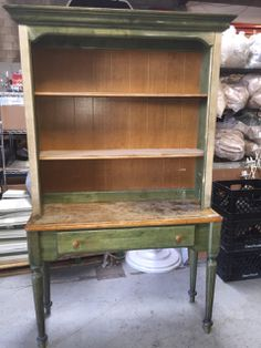 UNIQUE WOOD TABLE WITH HUTCH ATTACHMENT. NO HARDWARE FOUND. 77H X 46W X 17D