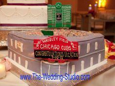 Chicago Cubs / Wrigley Field Groom's Cake. A true hit with baseball fans! The Wedding Studio, Schaumburg IL