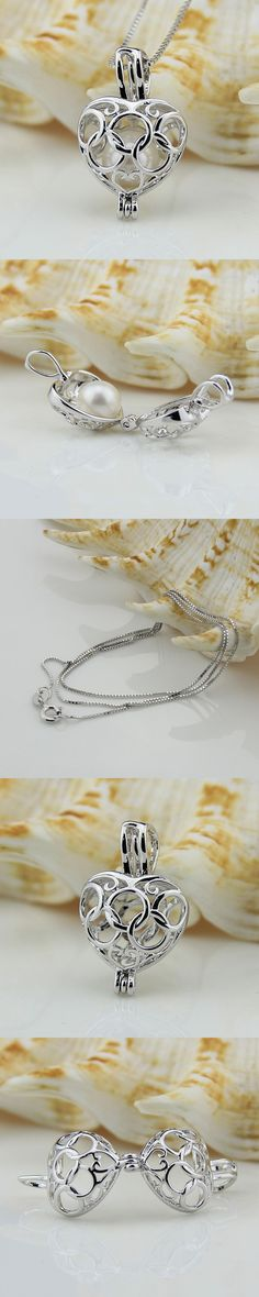 Hot Gift Gilrs 925 Sterling Silver Five loops Heart Locket Pendant Pearl Cage Pendant Necklace