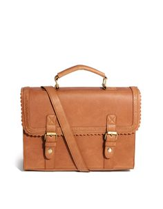 { Large Satchel Bag With Scallop Trim and Front Buckles }