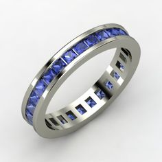 18K White Gold Ring with Sapphire | Brooke Eternity Band | Gemvara