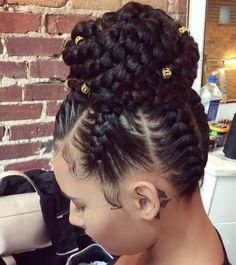 """586 Likes, 7 Comments - Protective Style Hair Products (@amistichaircare) on Instagram: """"Love this feed-in braided bun✨#tagher . . #protectivestyles #haircare #naturalista #hairgoals…"""""""