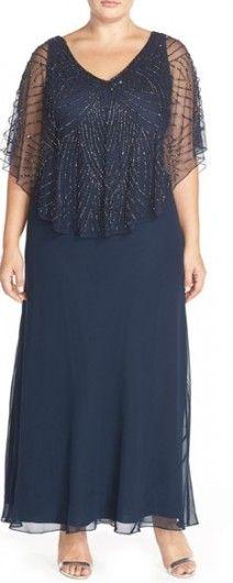 Plus Size Women's J Kara Embellished Cape Overlay V-Neck Gown, Size 18W - Blue