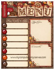 FREE PRINTABLE Thanksgiving Menu Planner... so cute!!!  She also has menu planners for every single month!