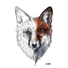 DIY Geometric Animals Fox Plant Temporary Tattoo Women Sexy Waterproof Disposable Black Tatoos Body Art Painting Tattoo Stickers , Brand Name: BAOFULISize: Temporary Tattoo Fox Tattoo Men, Fox Tattoo Design, Deer Tattoo, Tattoo Women, Raven Tattoo, Tattoo Ink, Arm Tattoo, Tattoo Tree, Japanese Sleeve Tattoos