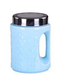 1122=Банка с ручкой 18 см., шт PATRICIA. Цвет голубой.