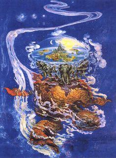 Terry Pratchett Discworld Books, so much fun. Discworld Tattoo, Discworld Books, World Turtle, Le Totem, Terry Pratchett Discworld, Fanart, Geek Out, Illustrators, Fantasy Art