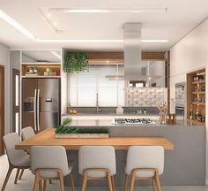 Projeto @lauramueller_arquitetura • • • • • A cozinha é o coração da casa! Esta ficou ampla, aconchegante e funcional, ideal para reunir a… Home Decor Kitchen, Kitchen Living, Home Kitchens, Kitchen Small, New Kitchen Cabinets, Kitchen Layout, Modern Kitchen Design, Interior Design Kitchen, Small Living Rooms