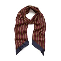 Shop the College Stripe Scarf in Burgundy Silk Twill at Mulberry.com. In the spirit of this British school-inspired season, this scarf enthusiastically adopts college stripes, developed in prints as an integral part of a preppy look. The colour combinations and unusual format bring a modern element, serving as a great accessory to perk up a casual look.