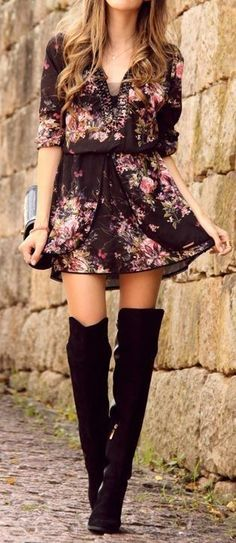 #spring #casual #outfits #inspiration | Floral dress and over the knee boots Source