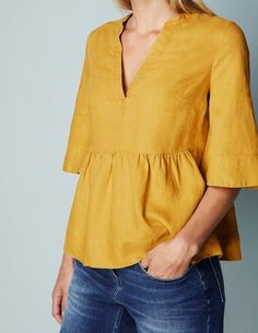 Relaxed Linen Popover WA690 3/4 Sleeved Tops at Boden