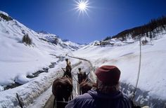 Carriage ride and skiing in St. Moritz, Switzerland