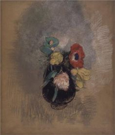 Anemones and Tulips  - Odilon Redon