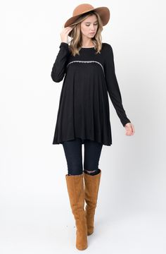 Black Lace Trim Tunic  http://www.caralase.com/lace-trim-tunic/  Long sleeve jersey top with a lace trim by Caralase. Cut in a relaxed + swingy silhouette, finished with a plenty long hem and lace trimming.  #Lacetrimtunic #trimtunic #lacetunic #tunics #tunicsforwomen #longsleevejerseytop #jerseytop #tops #longsleeve #burgundy #black #charcoal #olive #navyblue #navy #cool #caralase #fashion #newarrivals #cute #best #latest #womens #ladies #girls #ootd #trendy #lifestyle #cheap