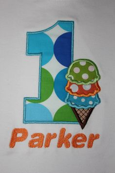 Ice Cream Cone Birthday Number Shirt or by OhSewSweetEmbroidery, $21.00