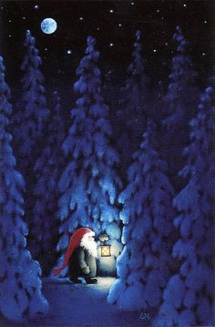 ~ Eva Melhuish Nisse at night in winter forest with a lantern. So Christmasy!