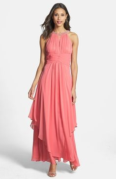 Eliza J Embellished Tiered Chiffon Halter Gown available at #Nordstrom