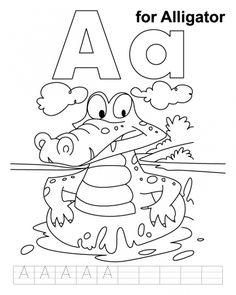 A Is For Alligator Coloring Page To Print Kids