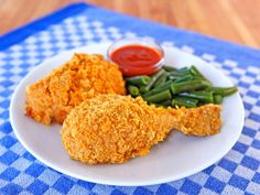 A Lightened Up Version of Fried Chicken for National Fried Chicken Day - Oven Fried Crispy Cornflake Chicken