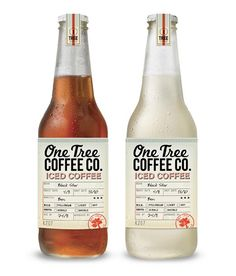 Creative Packaging  A typography-based package design by graphic design and branding studio Boheem for One Tree Coffee Co beverage bottles.