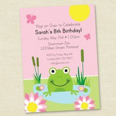 Frog Birthday - Pink - Printable Digital Birthday Invitation - Personal Use Only. $10.00, via Etsy.